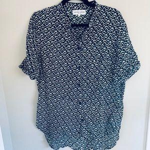 A Piece Apart blue/white ikat print blouse